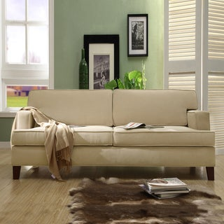 TRIBECCA HOME Stewart Beige Track Arm Modern Sofa