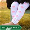White-and-pink Polka-dot Polyester/Spandex Baby Leg Warmers