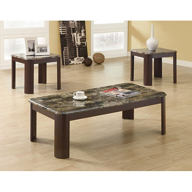 Faux Marble/ Brown 3-piece Occasional Table Set