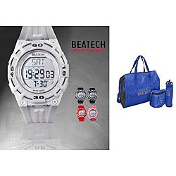 Beatech White Heart Rate Monitor Watch with Russell Athletic 3-piece Work-out Set
