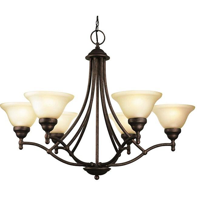 Woodbridge Lighting Anson 6-light Marbled Bronze Chandelier