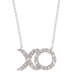 Sterling Silver 1/5ct TDW Diamond 'XO' Necklace