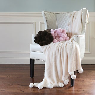 Pom Pom Faux Seal Fur Throw