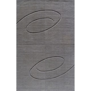 Hand-tufted Manhattan Swirl Grey Wool Rug (5 x 8)