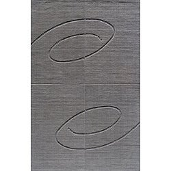 Hand-tufted Manhattan Swirl Grey Wool Rug (8 x 11)