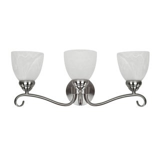Transitional Three-Light Brushed-Nickel Steel Bath Bar
