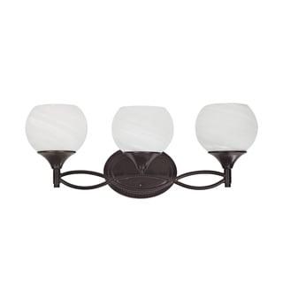 Indoor Transitional Three-light Dark Rubbed-Bronze Bath Bar