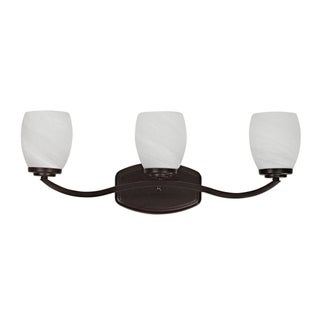 Transitional Three-light Dark Rubbed-Bronze Bath Bar with Curved Arms