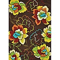 Coventry Brown Hand-hooked Floral Rug (5 x 7'6)