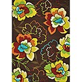 Hand-hooked Coventry Brown Floral Indoor/ Outdoor Rug (5 x 7'6)