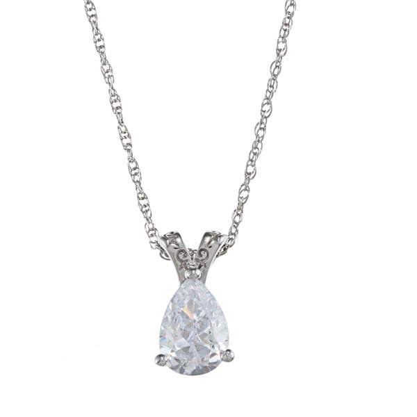 Gioelli Sterling Silver Clear Cubic Zirconia Solitaire Necklace
