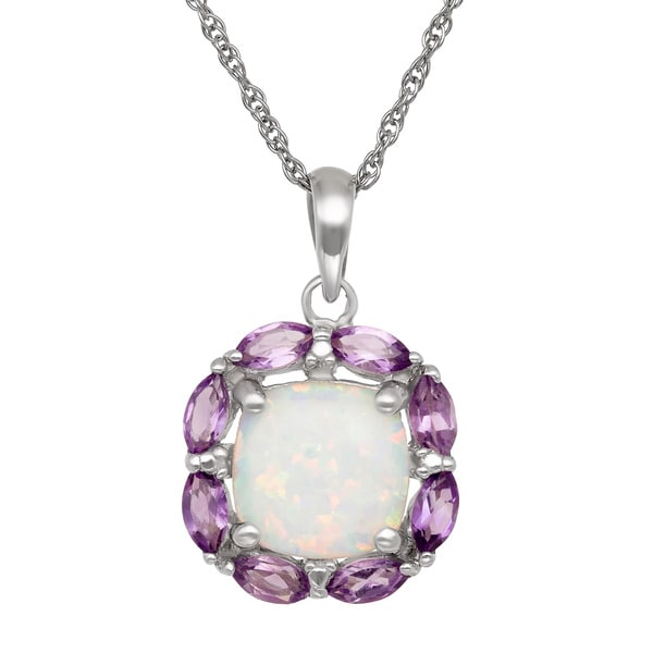 Gioelli Sterling Silver Amethyst and Opal Necklace