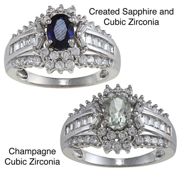 Gioelli Sterling Silver Champagne Cubic Zirconia Ring