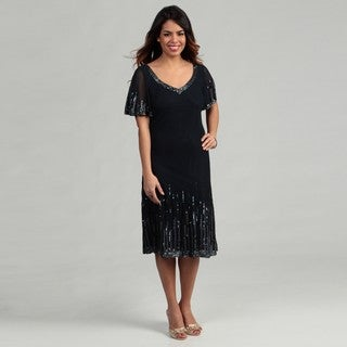 J Kara Women's Navy Sequin Flutter Sleeve Dress