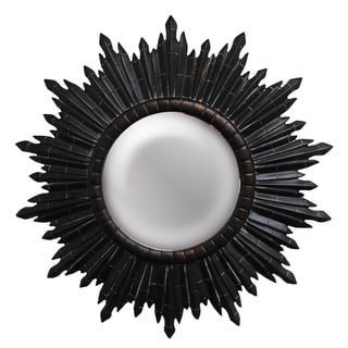 Round Dark Gold Sunburst Framed Mirror