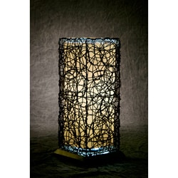 Black Steel and Faux Wicker Indoor / Outdoor Lamp