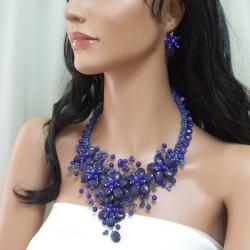 Sterling Silver Navy Blue Lapis Floral Weave Jewelry Set (Thailand)