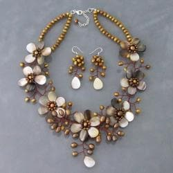 Golden Bronze Pearl-Shell Floral 925 Jewelry Set (3-5 mm) (Thailand)