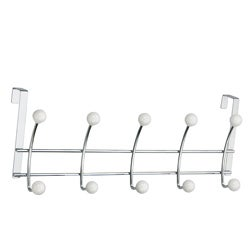 Over-the-door 10 White Porcelain Ball Hooks