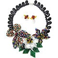 Butterfly-flower Multi Stone 925 Silver Jewelry Set (Thailand)