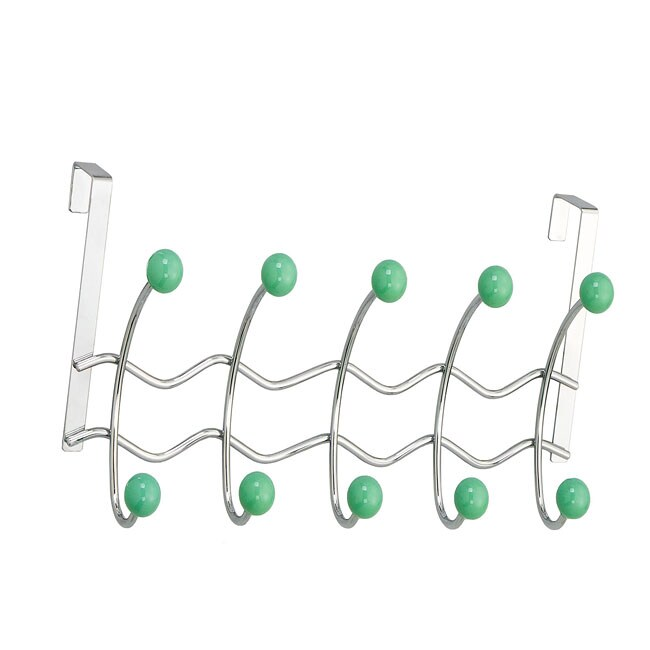Over-the-door 10 Sage Porcelain Ball Hooks