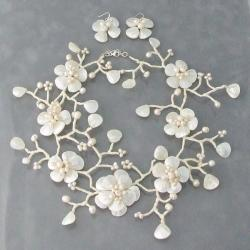 Snow Branches Flower Wrap 925 Silver Jewelry Set (3-9 mm) (Thailand)