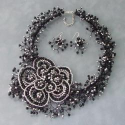 Sterling Silver Black Crystal Flower Jewelry Set