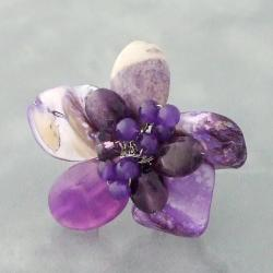 Purple Mother of Pearl Floral Adjustable Ring