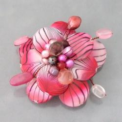 Steel Mother of Pearl Pink Zebra Floral Pin (4-12 mm)(Thailand)