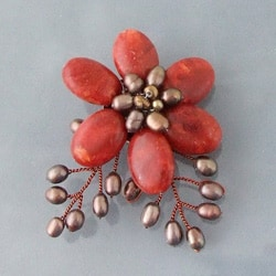 Red Coral and Pearl Floral Brooch (4-9 mm)(Thailand)