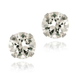 Glitzy Rocks Sterling Silver 2 1/10ct TGW 6mm White Topaz Stud Earrings