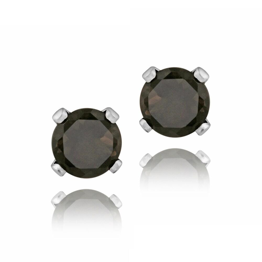 Glitzy Rocks Sterling Silver 3/5ct TGW 4mm Smokey Quartz Stud Earrings