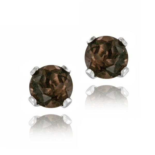 Glitzy Rocks Sterling Silver 1/4ct TGW 3mm Smokey Quartz Stud Earrings