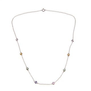 Kabella 14k White Gold Multi-colored Sapphire Station By-the-yard Necklace