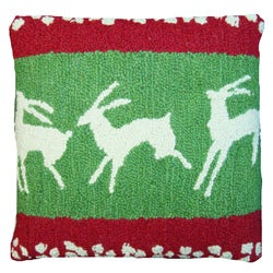 Holiday Reindeer Wool-hooked Decorative Pillow