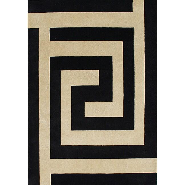Alliyah Handmade New Zealand Blend Black/ Beige Wool Rug (5' x 8')