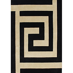 Alliyah Handmade New Zealand Blend Black/ Beige Wool Rug (5' x 8')