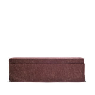 Portfolio Blane Brown and Caramel Skirted Wall Hugger Bench Storage Ottoman