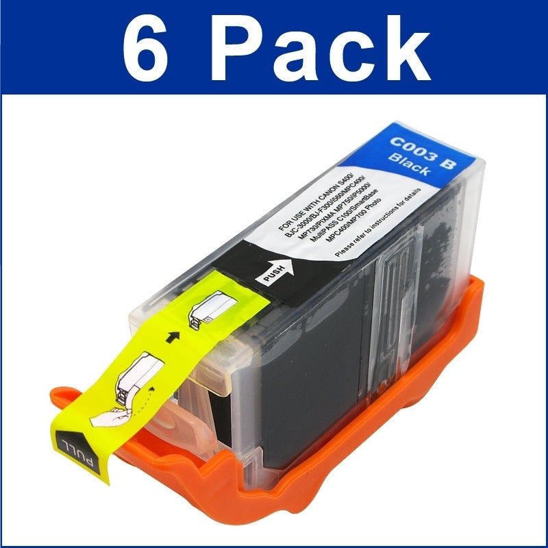 INSTEN Black Ink Cartridge for Canon BCI-3e/ MP780/ MP760/ iP5000/ S400 (Pack of 6)