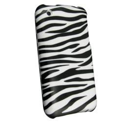 White/ Black Zebra Case/ Car Charger for Apple iPhone 3G/ 3GS