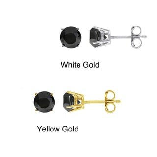 14k Gold 1 1/2ct TDW Round-cut Black Diamond Stud Earrings
