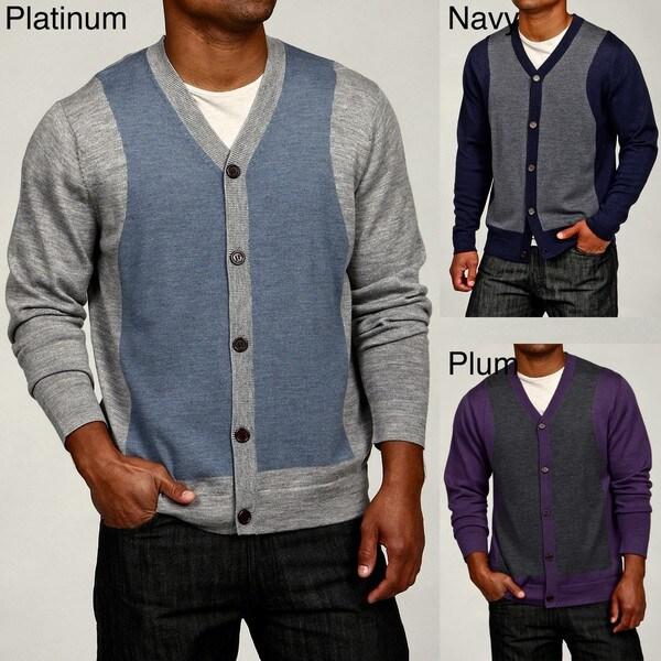 Oggi Moda Men's Colorblock Merino Wool Cardigan