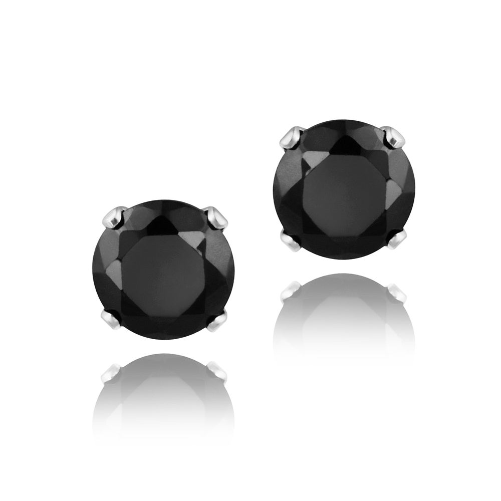 Glitzy Rocks Sterling Silver 3 1/5ct TGW 6mm Black Spinel Stud Earrings
