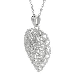 Journee Sterling Silver Cubic Zirconia Ornate Heart Necklace