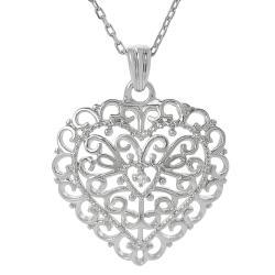 Tressa Sterling Silver Cubic Zirconia Ornate Heart Necklace