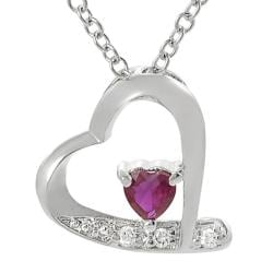 Tressa Sterling Silver Red and White Cubic Zirconia Heart Necklace
