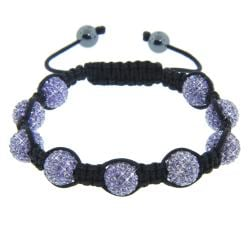 Eternally Haute Hematite and Violet Purple Crystal Eternity Macrame Bracelet