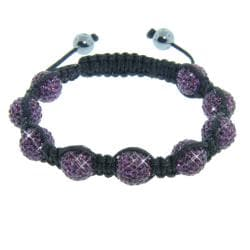 Eternally Haute Hematite and Purple Amethyst Crystal Eternity Macrame Bracelet