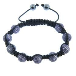 Eternally Haute Hematite and Tanzanite Purple Crystal Eternity Macrame Bracelet