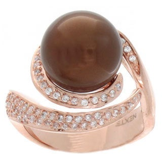 NEXTE Jewelry Rose Gold Overlay Cubic Zirconia Swirl Ring